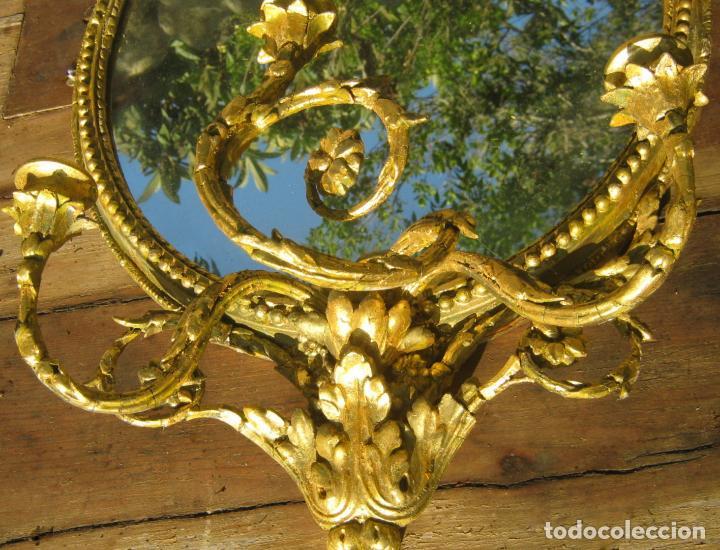 Antigüedades: c.1800. Jorge III. Antiguo espejo oval de 3 luces Rococó - Georgian Gilt Gesso Oval Girandole Mirror - Foto 6 - 131124772
