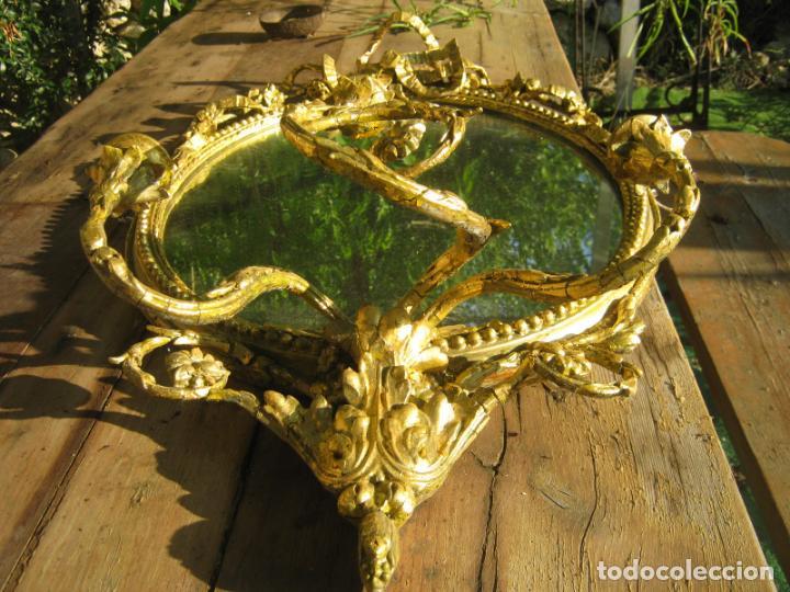 Antigüedades: c.1800. Jorge III. Antiguo espejo oval de 3 luces Rococó - Georgian Gilt Gesso Oval Girandole Mirror - Foto 8 - 131124772