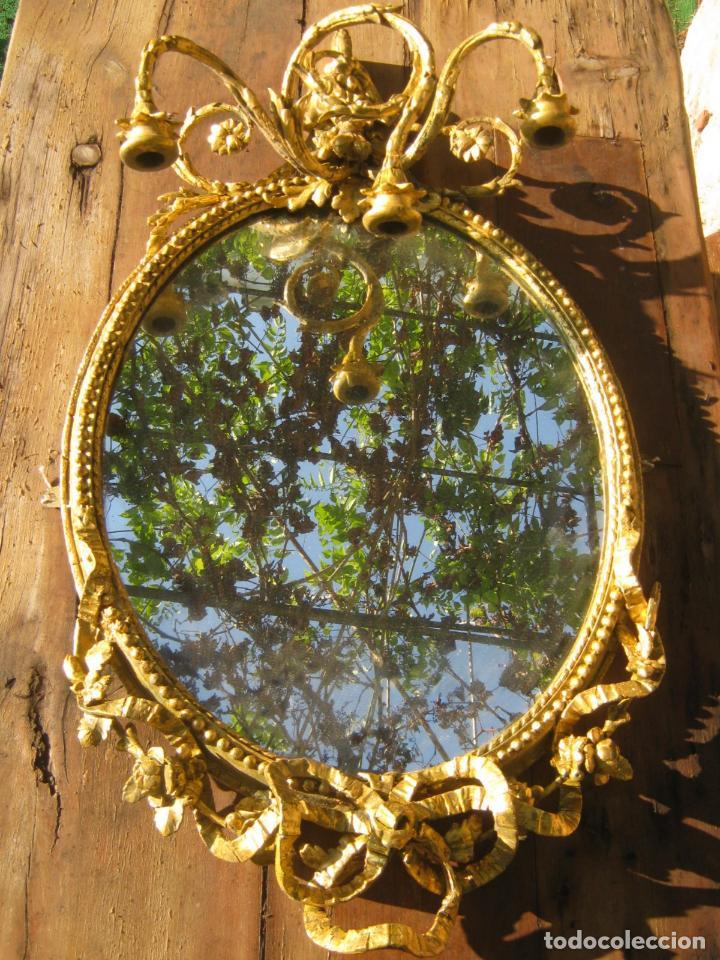 Antigüedades: c.1800. Jorge III. Antiguo espejo oval de 3 luces Rococó - Georgian Gilt Gesso Oval Girandole Mirror - Foto 9 - 131124772