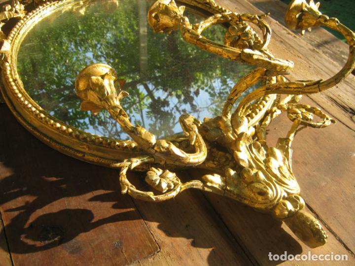 Antigüedades: c.1800. Jorge III. Antiguo espejo oval de 3 luces Rococó - Georgian Gilt Gesso Oval Girandole Mirror - Foto 11 - 131124772
