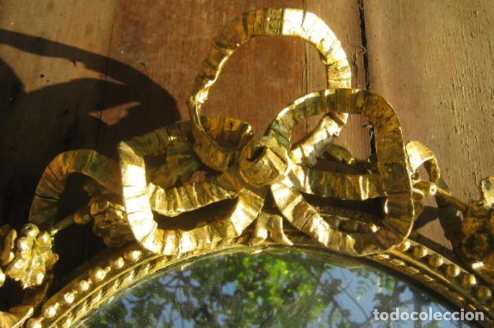 Antigüedades: c.1800. Jorge III. Antiguo espejo oval de 3 luces Rococó - Georgian Gilt Gesso Oval Girandole Mirror - Foto 12 - 131124772