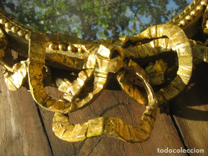 Antigüedades: c.1800. Jorge III. Antiguo espejo oval de 3 luces Rococó - Georgian Gilt Gesso Oval Girandole Mirror - Foto 14 - 131124772