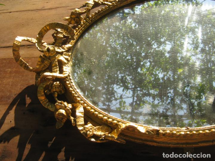 Antigüedades: c.1800. Jorge III. Antiguo espejo oval de 3 luces Rococó - Georgian Gilt Gesso Oval Girandole Mirror - Foto 15 - 131124772