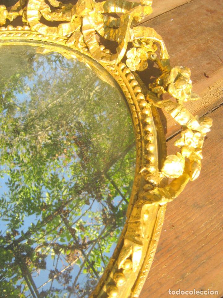 Antigüedades: c.1800. Jorge III. Antiguo espejo oval de 3 luces Rococó - Georgian Gilt Gesso Oval Girandole Mirror - Foto 17 - 131124772