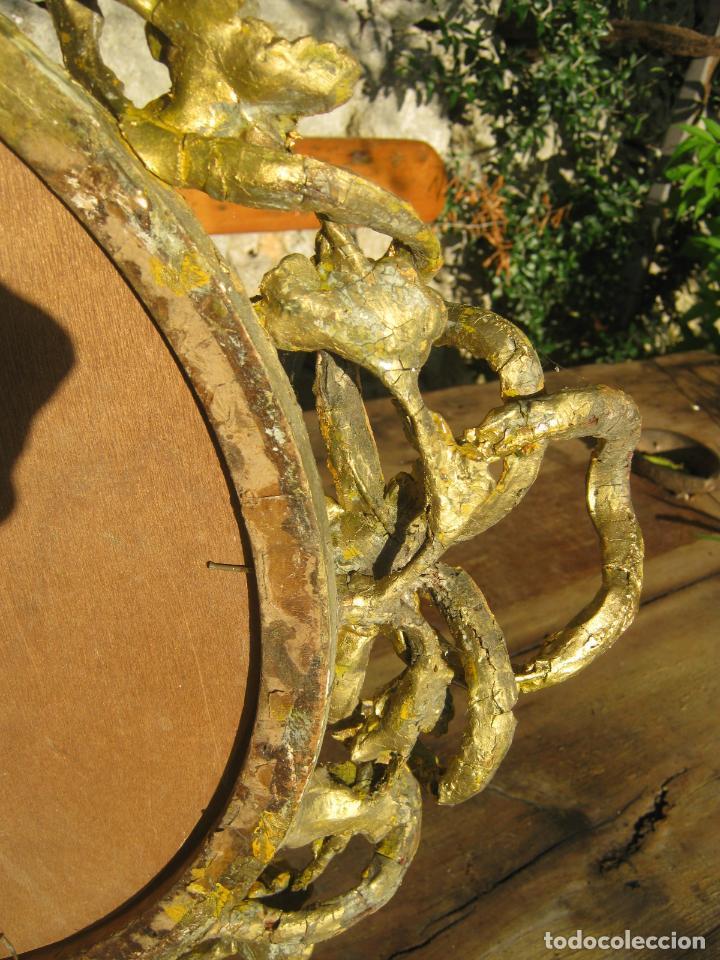 Antigüedades: c.1800. Jorge III. Antiguo espejo oval de 3 luces Rococó - Georgian Gilt Gesso Oval Girandole Mirror - Foto 20 - 131124772