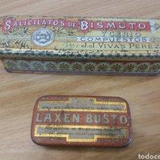 Antigüedades: DOS CAJAS DE HOJALATA ORIGINALES. SALICILATOS DE BISMUTO Y LAXEN BUSTO.. Lote 131146075