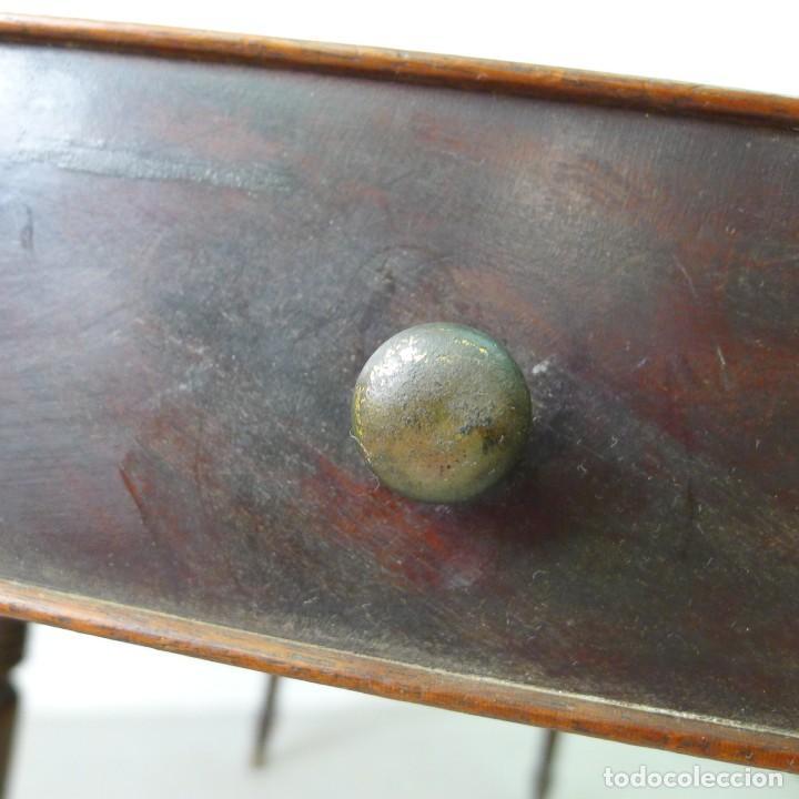 Antigüedades: MESA EXTENSIBLE DE CAOBA VICTORIANA s XIX CON UN CAJON - Foto 8 - 131161156