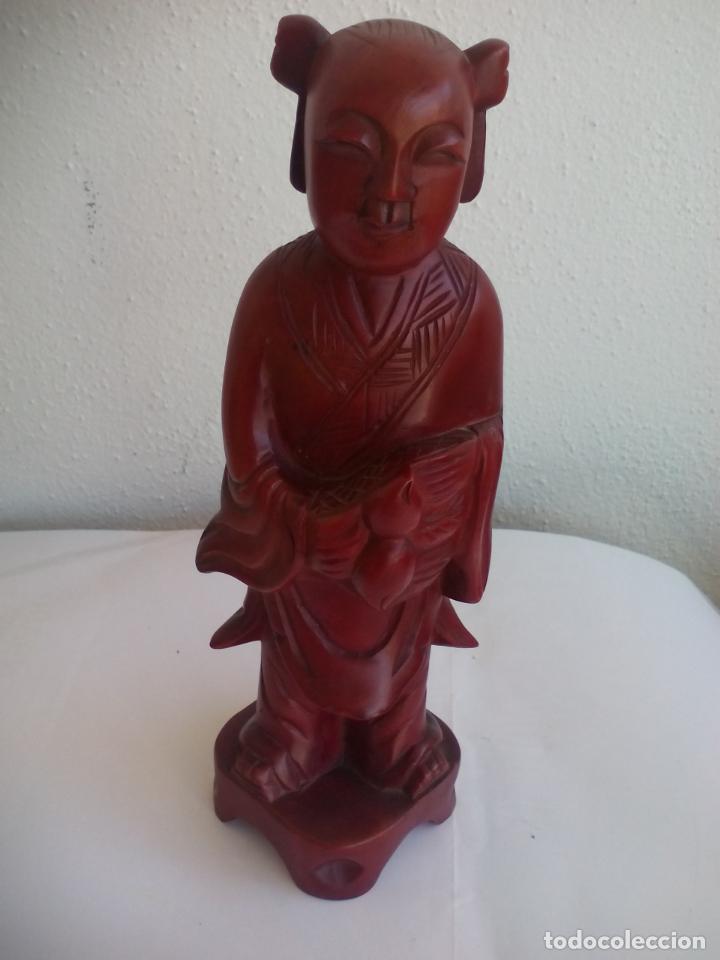 Antigüedades: TALLA DE MADERA MONJE BUDISTA O DE CHINA. ESCULTURA MADERA TALLADA - Foto 2 - 131224412