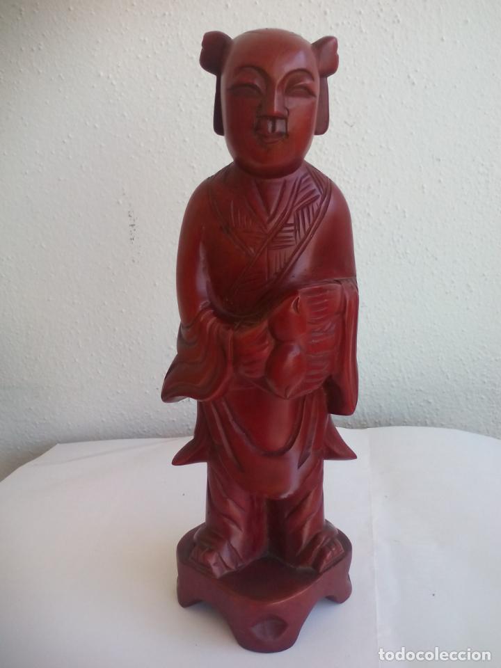 Antigüedades: TALLA DE MADERA MONJE BUDISTA O DE CHINA. ESCULTURA MADERA TALLADA - Foto 5 - 131224412