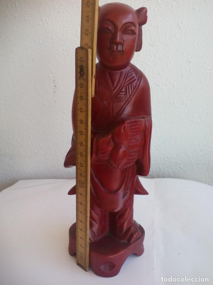 Antigüedades: TALLA DE MADERA MONJE BUDISTA O DE CHINA. ESCULTURA MADERA TALLADA - Foto 6 - 131224412
