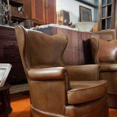 Antigüedades - 2 sillones de piel antiguos - 131231839