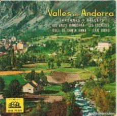 Discos de vinilo: VALLES DE ANDORRA / SARDANAS Y BALLETS (EP REGAL 1960) COBLA GIRONA - DISCO AZUL TRANSPARENTE. Lote 131235803