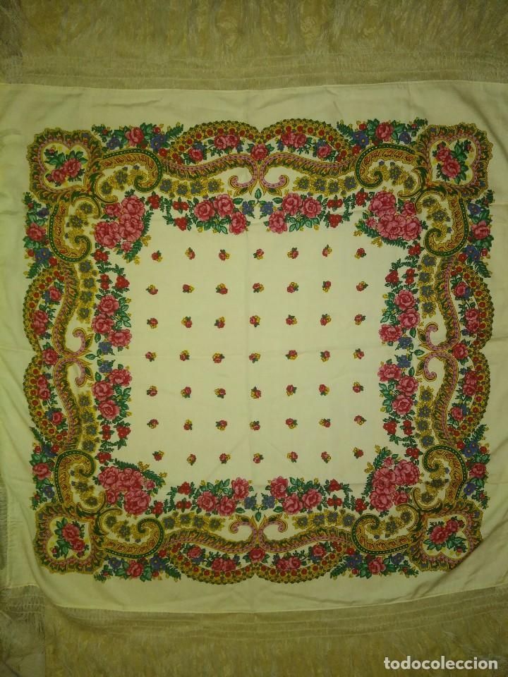 Antigüedades: Mantón de algodón fino estampado con fleco de lana para indumentaria tradicional - Foto 12 - 131310215