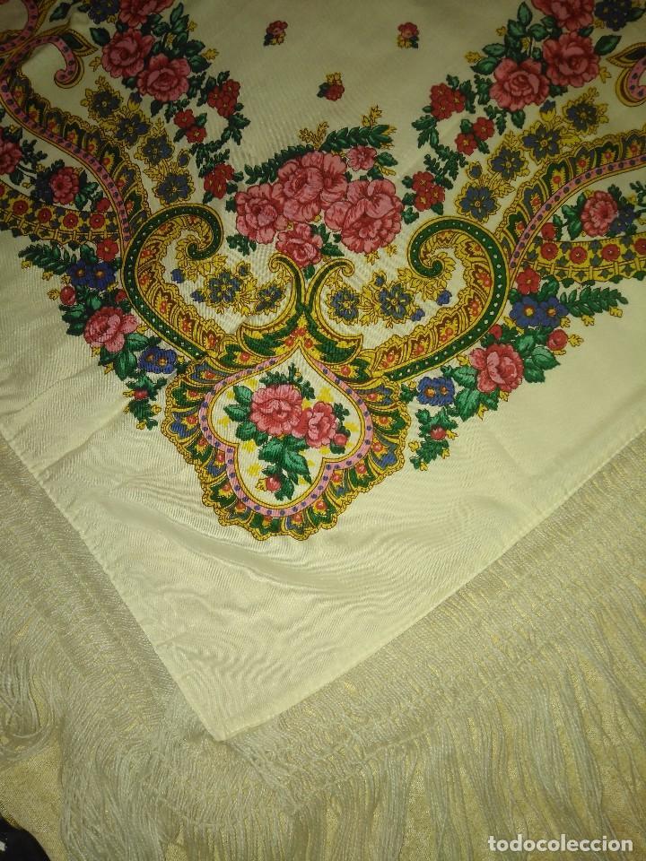Antigüedades: Mantón de algodón fino estampado con fleco de lana para indumentaria tradicional - Foto 13 - 131310215