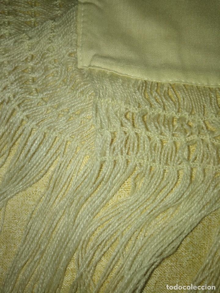 Antigüedades: Mantón de algodón fino estampado con fleco de lana para indumentaria tradicional - Foto 16 - 131310215
