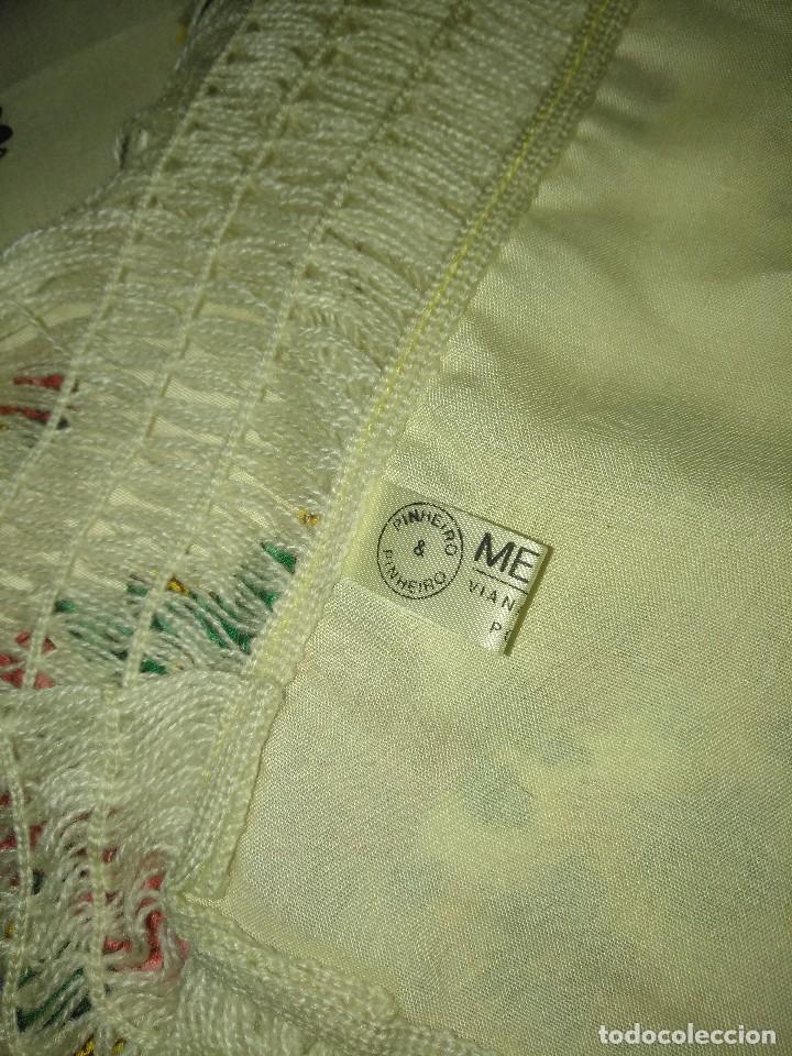 Antigüedades: Mantón de algodón fino estampado con fleco de lana para indumentaria tradicional - Foto 17 - 131310215