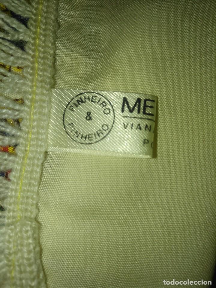 Antigüedades: Mantón de algodón fino estampado con fleco de lana para indumentaria tradicional - Foto 18 - 131310215
