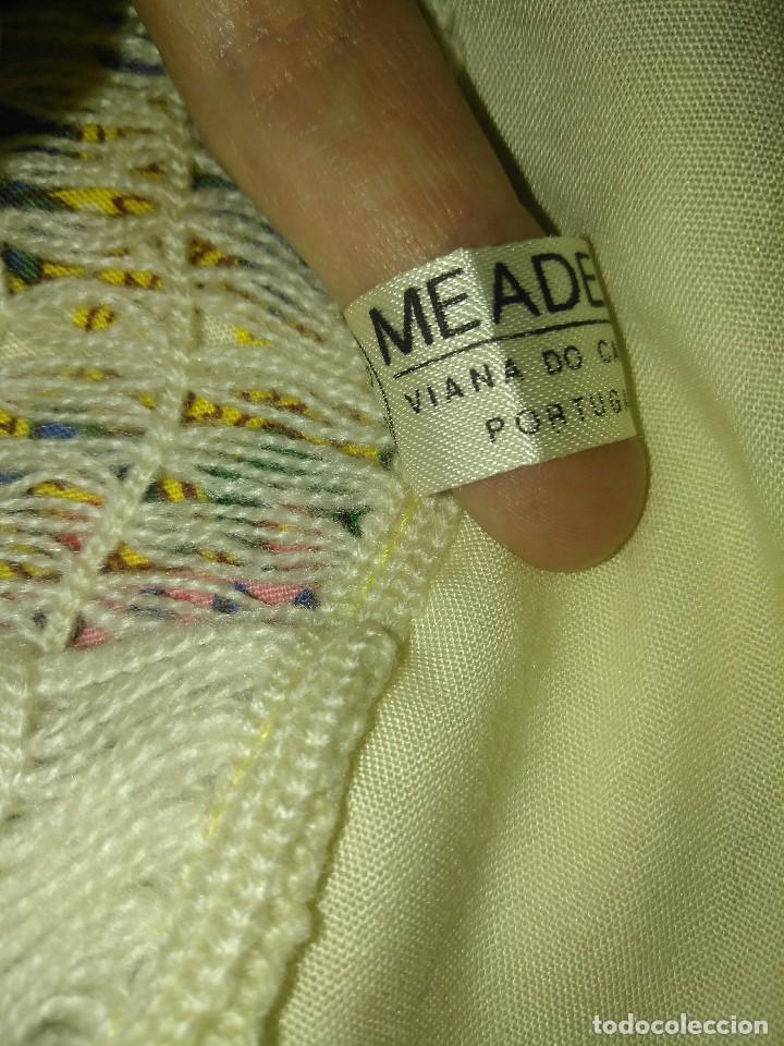 Antigüedades: Mantón de algodón fino estampado con fleco de lana para indumentaria tradicional - Foto 19 - 131310215