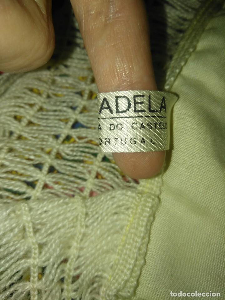 Antigüedades: Mantón de algodón fino estampado con fleco de lana para indumentaria tradicional - Foto 20 - 131310215
