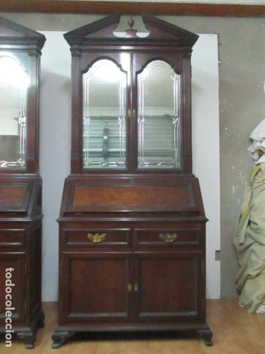 Antigüedades: Pareja de Vitrinas Rinconeras, Escritorio - Madera de Caoba - Espejos Decorados - Principios S. XX - Foto 4 - 131315982