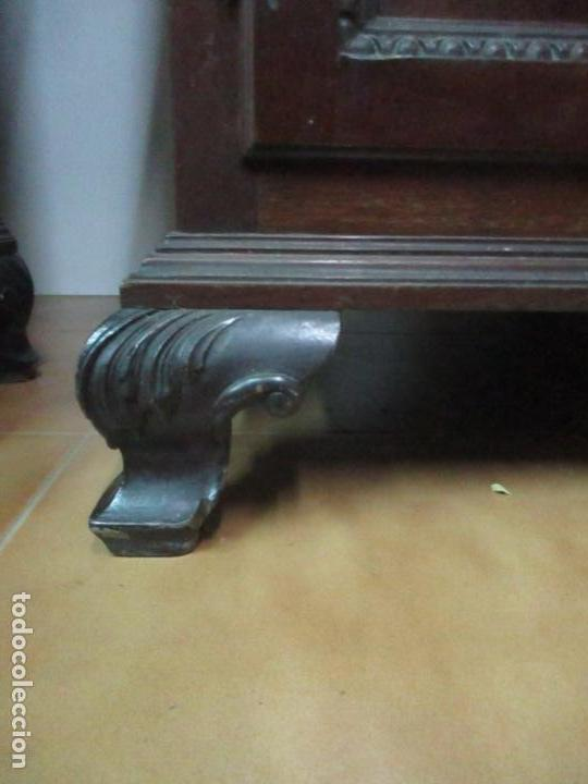 Antigüedades: Pareja de Vitrinas Rinconeras, Escritorio - Madera de Caoba - Espejos Decorados - Principios S. XX - Foto 6 - 131315982