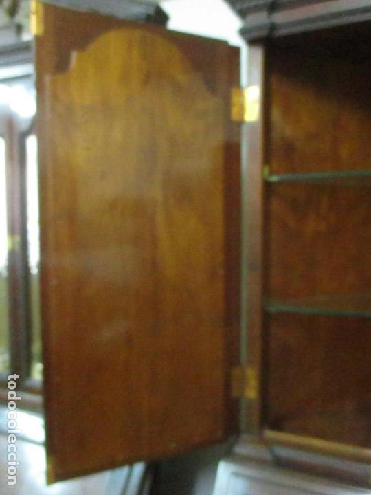Antigüedades: Pareja de Vitrinas Rinconeras, Escritorio - Madera de Caoba - Espejos Decorados - Principios S. XX - Foto 20 - 131315982