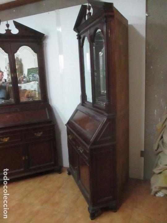 Antigüedades: Pareja de Vitrinas Rinconeras, Escritorio - Madera de Caoba - Espejos Decorados - Principios S. XX - Foto 40 - 131315982