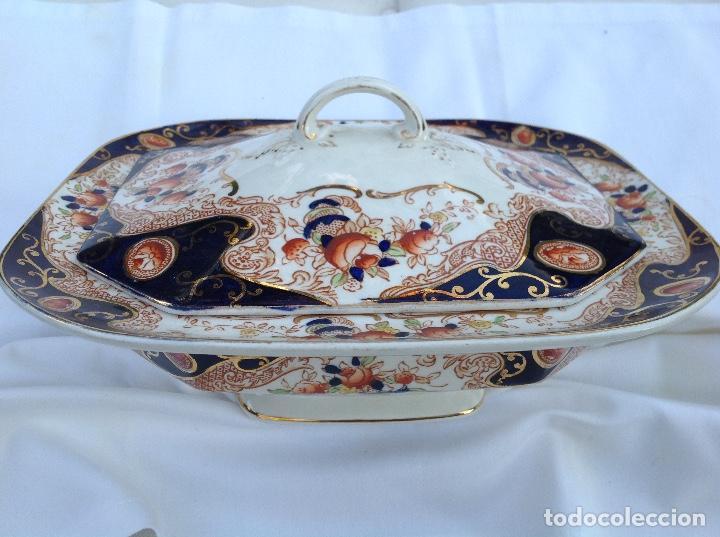 LEGUMBRERA CON TAPA, EN LOZA INGLESA. PPIOS S XIX (Antigüedades - Porcelanas y Cerámicas - Inglesa, Bristol y Otros)