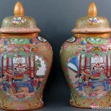 Antigüedades: PAREJA DE JARRONES CHINO EN PORCELANA DE CANTÓN SIGLO XX. Lote 131414258