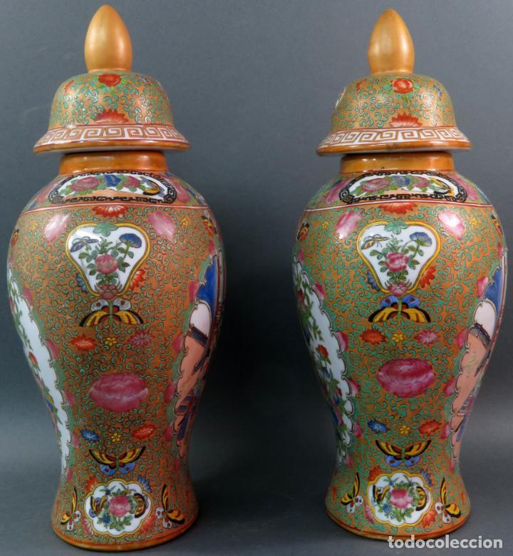 Antigüedades: Pareja de jarrones chino en porcelana de Cantón siglo XX - Foto 2 - 131414258