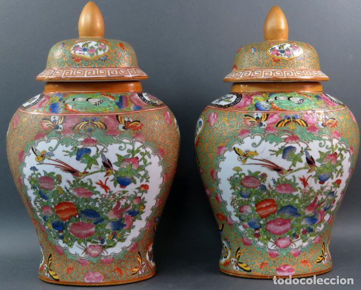 Antigüedades: Pareja de jarrones chino en porcelana de Cantón siglo XX - Foto 3 - 131414258