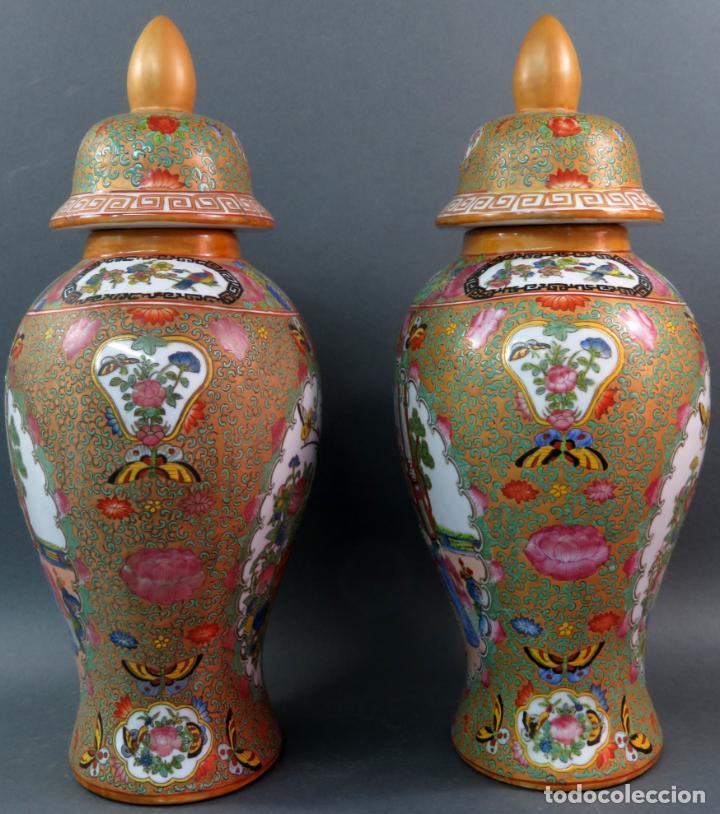 Antigüedades: Pareja de jarrones chino en porcelana de Cantón siglo XX - Foto 4 - 131414258
