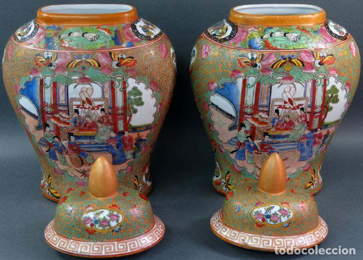 Antigüedades: Pareja de jarrones chino en porcelana de Cantón siglo XX - Foto 5 - 131414258