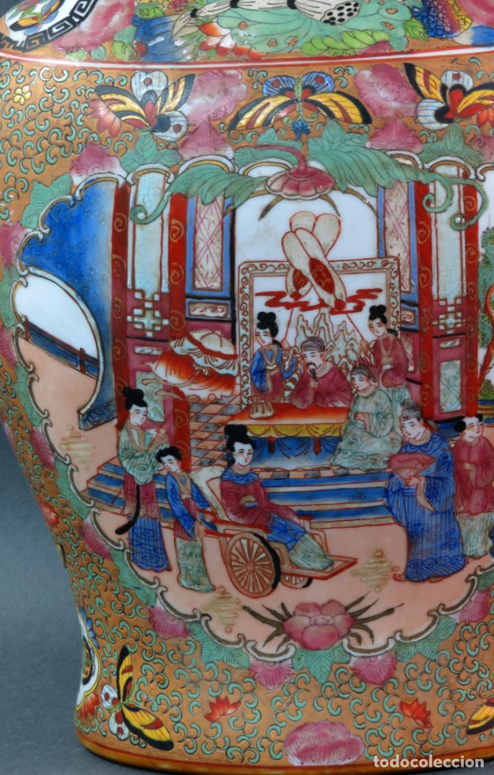 Antigüedades: Pareja de jarrones chino en porcelana de Cantón siglo XX - Foto 6 - 131414258