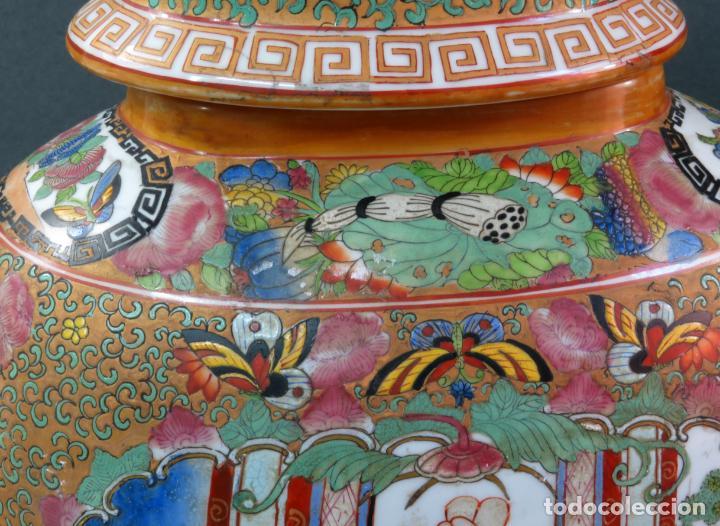 Antigüedades: Pareja de jarrones chino en porcelana de Cantón siglo XX - Foto 7 - 131414258