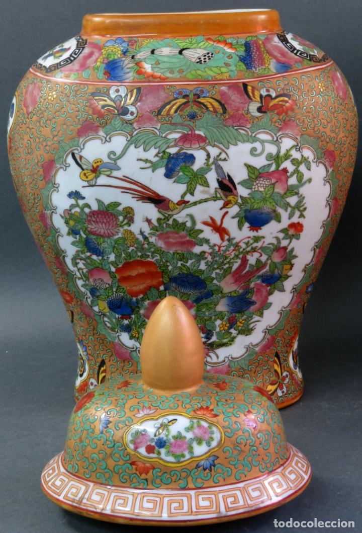 Antigüedades: Pareja de jarrones chino en porcelana de Cantón siglo XX - Foto 8 - 131414258