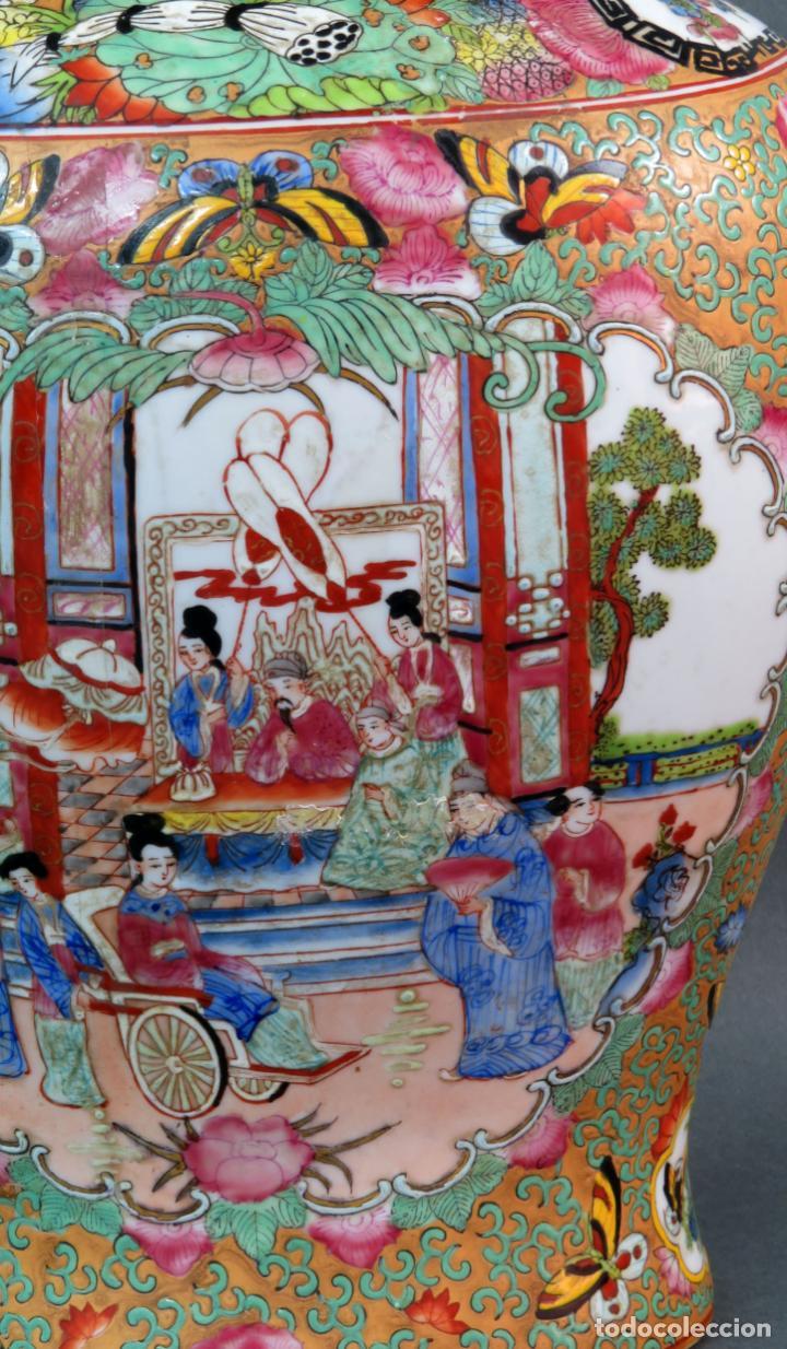 Antigüedades: Pareja de jarrones chino en porcelana de Cantón siglo XX - Foto 10 - 131414258