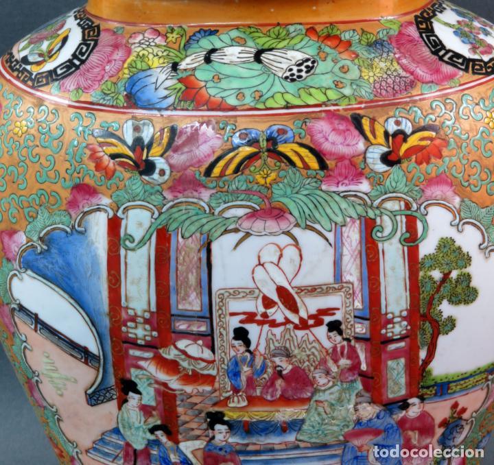Antigüedades: Pareja de jarrones chino en porcelana de Cantón siglo XX - Foto 11 - 131414258