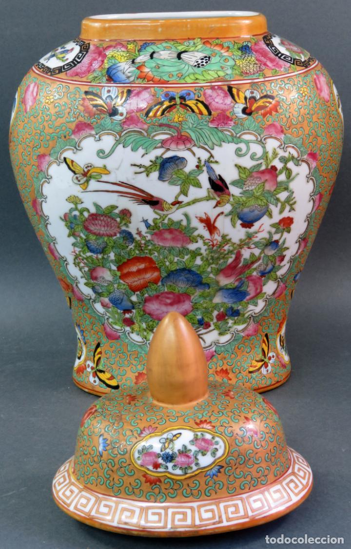 Antigüedades: Pareja de jarrones chino en porcelana de Cantón siglo XX - Foto 12 - 131414258