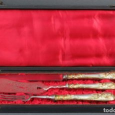 Antigüedades: ESTUCHE CON TENEDOR CUCHILLO Y PALA DE SERVIR DE LA JOYERIA ASENSIO MADRID HACIA 1900. Lote 131414814