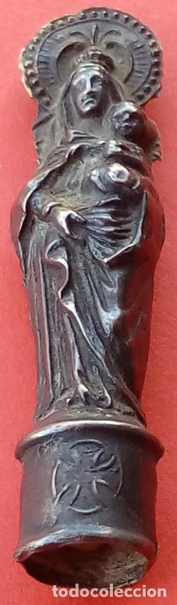 Antigüedades: VIRGEN DEL PILAR DE PLATA S. XIX, MAGNÍFICO TRABAJO DE ORFEBRERÍA. 4.7 CMS DE ALTO. - Foto 3 - 131504038