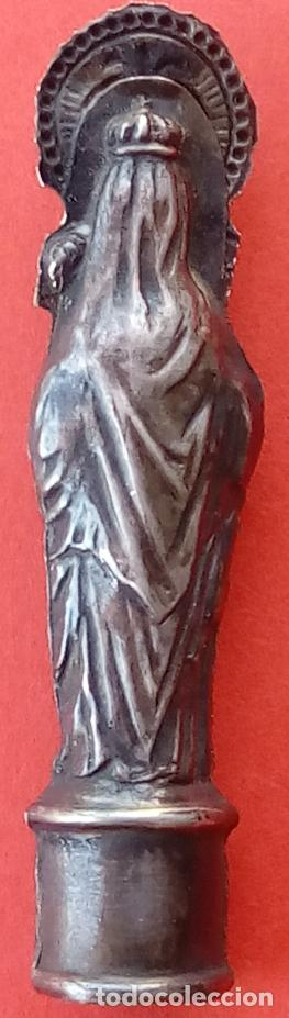 Antigüedades: VIRGEN DEL PILAR DE PLATA S. XIX, MAGNÍFICO TRABAJO DE ORFEBRERÍA. 4.7 CMS DE ALTO. - Foto 5 - 131504038