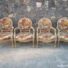 Antigüedades: 4 SILLONES - SILLÓN - MADERA TALLADA Y DORADA - ESTILO LUIS XV, FRANCIA. Lote 131556630