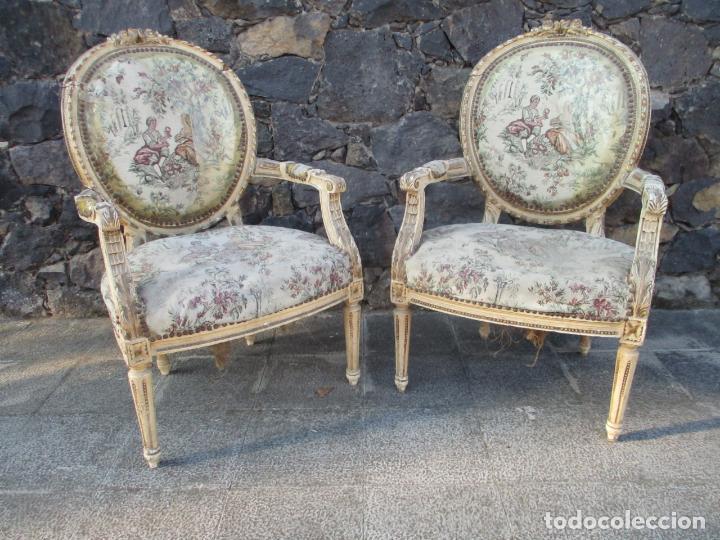 Antigüedades: Pareja de Sillones - Sillón - Madera Tallada y Lacada - Estilo Luis XV, Francia - Tapicería Original - Foto 2 - 131557346