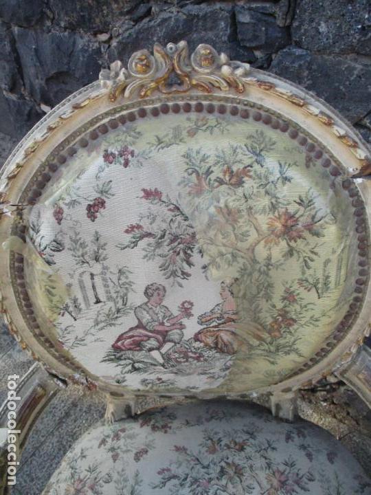 Antigüedades: Pareja de Sillones - Sillón - Madera Tallada y Lacada - Estilo Luis XV, Francia - Tapicería Original - Foto 4 - 131557346