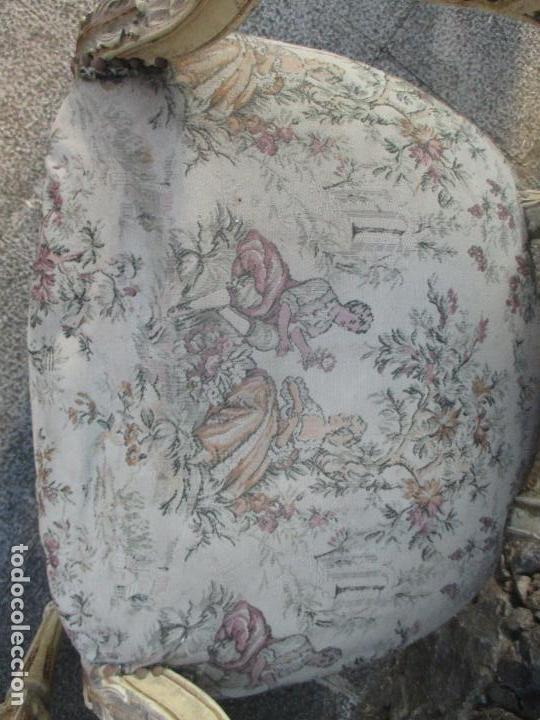 Antigüedades: Pareja de Sillones - Sillón - Madera Tallada y Lacada - Estilo Luis XV, Francia - Tapicería Original - Foto 12 - 131557346