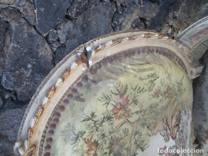 Antigüedades: Pareja de Sillones - Sillón - Madera Tallada y Lacada - Estilo Luis XV, Francia - Tapicería Original - Foto 13 - 131557346