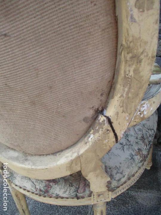 Antigüedades: Pareja de Sillones - Sillón - Madera Tallada y Lacada - Estilo Luis XV, Francia - Tapicería Original - Foto 17 - 131557346