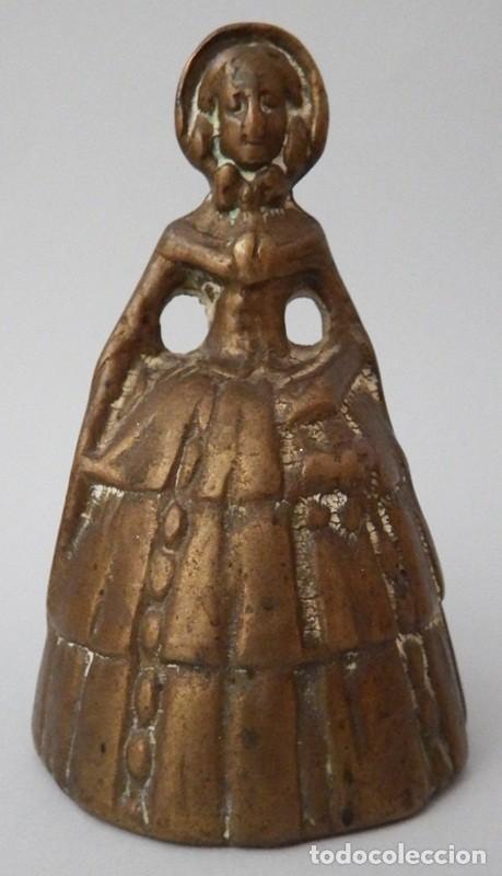 CAMPANILLA EN BRONCE DE DAMA ANTIGUA (Antigüedades - Hogar y Decoración - Campanas Antiguas)