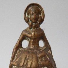 Antigüedades: CAMPANILLA EN BRONCE DE DAMA ANTIGUA. Lote 131560466